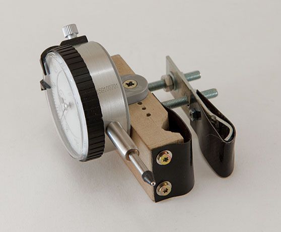 DIY wheel truing dial indicator assembly
